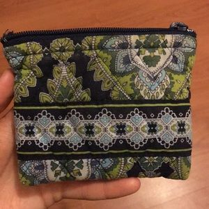 Vera Bradley Green Paisley Coin Purse/Small Wallet